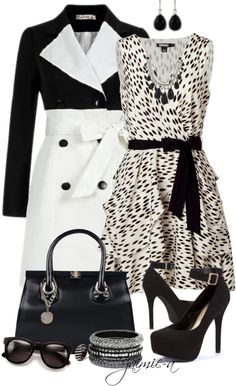 """""""Black & White Print Dress"""" by jaimie-a ❤ liked on Polyvore"""
