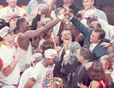 """<center><big><big><b>Heart of a Champion</big></b></center> <h3></h3> <b>When:</b> June 14, 1995</b> <h3></h3> <b>The moment:</b> During the trophy presentation after Game 4 of the Finals against Orlando, Rockets coach Rudy Tomjanovich uttered the words that became immortal in Houston sports: """"What I'd like to say to the non-believers is never underestimate the heart of a champion."""""""