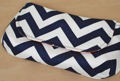 Cute Clutch Navy Chevron with Orange by lenalimestudio