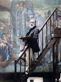 "Edward Burne-Jones (1833-1898) working on his painting ""The Star of Bethlehem"", the largest watercolor of the 19th century. Photo: Barbara Leighton Sotheby 1890, colorized by painters-in-color"