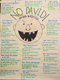 """Great inferencing activity based on the book, No David. Example: When David was playing with his food. . . """"He's embarrassing his parents in front of company."""""""
