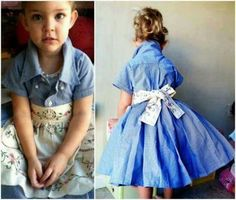 Learn how to make a Toddler Shirt Dress with this easy video tutorial that shows you how. You will love these super cute ideas. The Dress, Dress For You, Little Girl Dresses, Girls Dresses, Shirt Dress Pattern, Old Dresses, Dress Tutorials, Diy Shirt, Toddler Dress