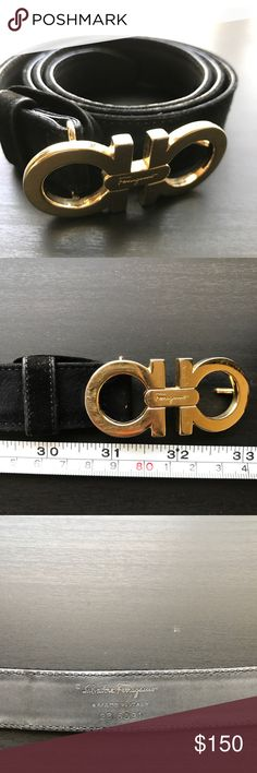 "Salvatore Ferragamo Belt Pre loved black leather belt with velvet finish. Feature gold bucket, approx 1"" wide strap, 4 belt holes. Serial number 23 6091. Full belt measures approx 31"" Salvatore Ferragamo Accessories Belts"