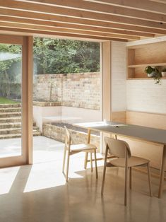 The dining table is the Frame Table with a gray linoleum top by Hay and the chairs, also Hay, are Soft Edge 12 Chairs in oak. Victorian Terrace House, House Extensions, Home Additions, Terraced House, Architects London, Timber Structure, Ground Floor, Susan Sullivan, Interior Design Software