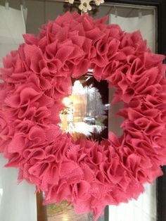Pink Burlap Wreath. $40.00, via Etsy.