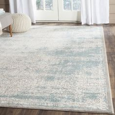 Safavieh Passion Collection Vintage Medallion Watercolor Turquoise and Ivory Distressed Area Rug x - Great quality made product.This Safavieh th Rugs In Living Room, Living Room Decor, Dining Room, Watercolor Rug, Vibeke Design, Ideas Hogar, Traditional Area Rugs, Traditional Interior, Room Rugs