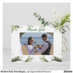 Modern Palm Tree Elegant Beach Thank You Card