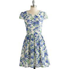 ModCloth Short Cap Sleeves A-line Sky Vine Dress ($32) ❤ liked on Polyvore featuring dresses, modcloth, blue, apparel, fashion dress, cocktail party dress, blue floral dress, blue dress, lace a line dress and blue cocktail dress