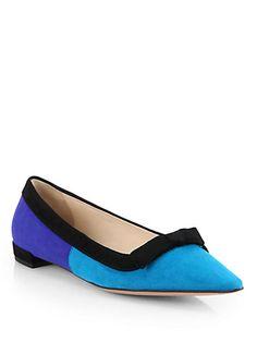 Prada - Suede Colorblock Ballet Flats - Saks.com