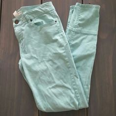 """Seafoam Skinny Jeans Purchased these on another site but they're just way too big for me now. Super adorable! Softer material, tight throughout. Zippers on each leg. Has a flaw on the left leg that was there when I got it. 98% cotton 2% spandex   * no trades/holds  * anyone asking for """"lowest"""" will be ignored * reasonable offers considered but ONLY using the offer function! life in progress Jeans Skinny"""