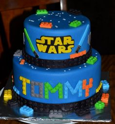 Birthday Cakes - Star Wars lego cake. This is a lemon cake with lemon buttercream covered with mmf. All the Legos and other details are also made from mmf.