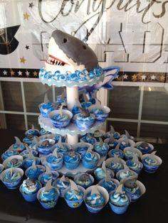 Jaws Cake Jaws Cake with Cupcakes Shark Birthday Cakes, Adult Birthday Party, Birthday Party Themes, Boy Birthday, Birthday Ideas, Shark Cupcakes, Shark Cake, Kid Desserts, How To Make Cake