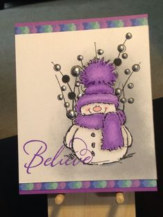 Christmas Card - Stamps: Stampabilities Believe Penny Black Snowy, Hero Arts Spring Gems - Inks: Distress Ink Wilted Violet, Memento Tuxedo Black, Hero Arts Soft Granite - Prismacolor Colored Pencils: 932 - Viva Perlen-Pen Silver Homemade Christmas Cards, Christmas Cards To Make, Xmas Cards, Homemade Cards, Holiday Cards, Christmas Snowman, Penny Black Cards, Penny Black Stamps, Navidad Simple