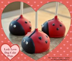 This Lady Love Bug Cake Pop tutorial is sure to bring a smile to your child's face this Valentine's Day. Use this same tutorial for lady bug cake pops. Ladybug Cake Pops, Ladybug Cookies, Ladybug Party, Ladybug Pretzels, Lady Bug, Ladybug Appetizers, Cake Pop Tutorial, Owl Cakes, Cake Pop Sticks