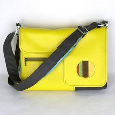 Vegan Laptop Bag Canary Yellow and Chocolate Bown, Vinyl Computer Bag
