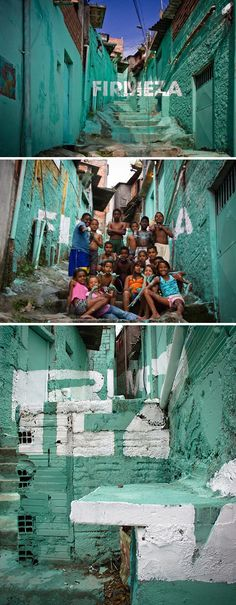 """Spanish art collective Boa Mistura and its participatory street art project in Brazil, """"Luz nas Vielas"""" (Light in the Alleyways). The group invited children to paint positive words like 'love' and 'pride' along the alleys of Vila Brasilianda, a shanty town in Sao Paulo."""