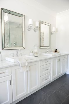 Beautiful bathroom decor some ideas. Modern Farmhouse, Rustic Modern, Classic, light and airy master bathroom design some ideas. Bathroom makeover ideas and bathroom renovation ideas. White Vanity Bathroom, Modern Bathroom, Bathroom Mirrors, Bathroom Lighting, Classic Bathroom, Small Bathrooms, Framed Mirrors, Gray And White Bathroom Ideas, Gold Bathroom