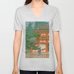 Kawase Yusui made Nara Kasuga Taisha Unisex V-Neck by V Neck T Shirt, Unisex, Stuff To Buy, Tops, Women, Fashion, Moda, Women's, La Mode