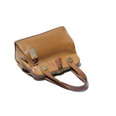 Vintage Natural Cork Brown Leather Hand Bag by TanakaVintage