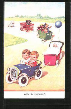 Künstler-AK John Wills: Kinder fahren mit Spielzeugauto in den Urlaub 0