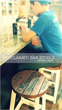 Cool tutorial for custom reclaimed bar stools.  www.reinspireddecor.com