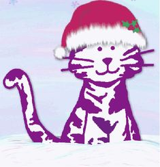 Santa Purple Cat by Purple Cat Arts Erin Go Bragh, Purple Cat, Cat Gif, Happy Fall, Pilgrim, Minnie Mouse, Disney Characters, Fictional Characters, Merry Christmas