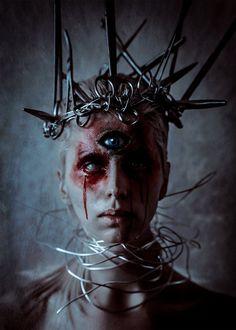 Crown by Elena-NeriumOleander, bloody third eye mystical beautifully #creepy lighting