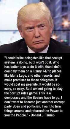 "DEBRA GIFFORD (@lovemyyorkie14) | TwitterWise words from Trump on corruption ""I could bribe delegates like that corrupt system is doing.. but I wont"""