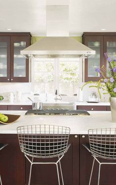 modern kitchen with bertoia counter stools