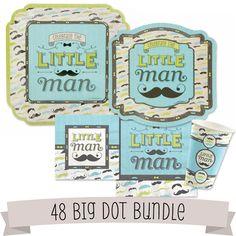 Dashing Little Man Baby Shower Tableware - 48 Big Dot Bundle. Baby Shower ideas for boys; Baby Shower Decorations #Mustache