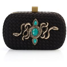 FATE'S VENTURE CLUTCH EMERALD (465 AUD) ❤ liked on Polyvore featuring bags, handbags, clutches, purses, woven handbag, woven purse, black purse, black handbags and black woven handbag