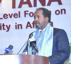President Hassan Sheikh Mohamud of Somalia addresses delegates at the 2013 Tana High Level Forum on Security in Africa