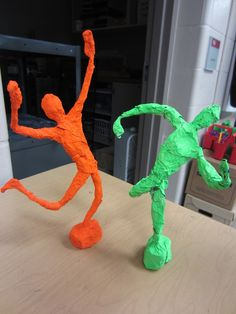 foil and wire sculptures - modeling clay base