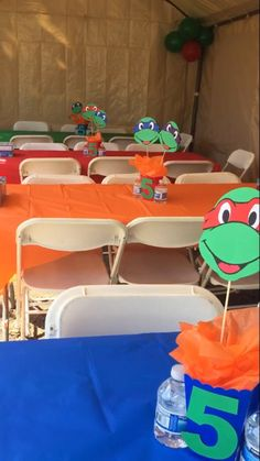 Items similar to Ninja Turtle Inspired Centerpieces on Etsy 3rd Birthday Party For Boy, Turtle Birthday Parties, Ninja Turtle Birthday, Ninja Turtle Party, Carnival Birthday, Ninja Turtles, Birthday Ideas, Ninja Turtle Centerpieces, Slumber Party Games