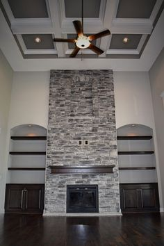 2 Story Great Room, Coffered Ceiling, Stone Fireplace, Interior Design, New Bickimer Homes For Sale