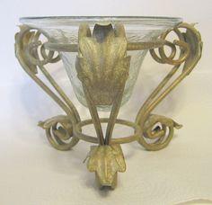Crackle Glass Vase and Ornate Metal Stand Set #Hobnail