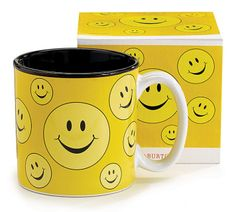 Ceramic mug with yellow background and smiley faces all around. Black interior and white handle. 13 oz. Dishwasher safe/FDA approved/Microwave safe.