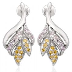 Exxotic fashion collection 92.5 sterling silver light purple and yellow color american diamond earring