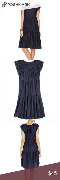 Calypso St. Barth Meda Cotton Silk Cap Slv Dress Navy Lined dress in like new condition. Embroidered neckline with hook and eye closure. Calypso St. Barth Dresses Midi