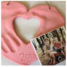 Handprints and photo heart keepsake craft