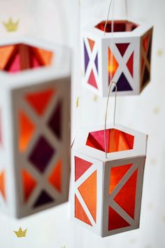 These DIY paper lanterns add a colorful pop of festive to your yard for the holidays.