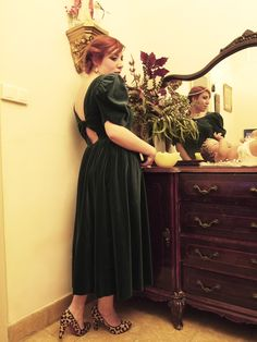 Laura Ashley vintage dress, Christian Louboutin mistica leopard shoes and filigrina earrings