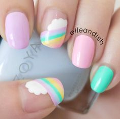 Nailpolis Museum of Nail Art | Easy Cloud Rainbow Nails by elleandish