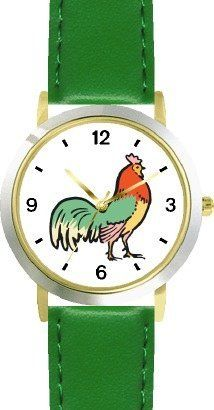 Rooster, Le Coq, Cockerel, Cocq Gaulois, Cock Bird Animal - WATCHBUDDY® DELUXE TWO-TONE THEME WATCH - Arabic Numbers - Green Leather Strap-Size-Children's Size-Small ( Boy's Size & Girl's Size ) WatchBuddy. $49.95