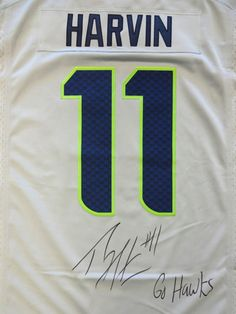 """Percy Harvin Autographed Seattle Seahawks Gray Nike Jersey """"""""Go Hawks"""""""" PSA/DNA ITP Stock"""
