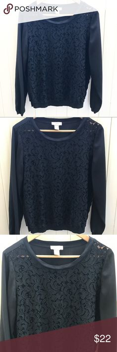 """Loft Black Lace Sheer Pullover Sweater Top Loft Black Lace Sheer Pullover Sweater Top. Front is lace. The back and sleeves are sheer. Size Medium. Length measures 23"""". Bust measures approximately 16"""". Front is 75% nylon 25% cotton. Back and sleeves are 100% polyester. Excellent preowned condition. LOFT Tops"""