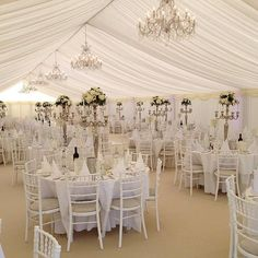 Marquee, chandeliers and lots of white  #evedeso #eventdesignsource - posted by Kim & Co. Events by Design https://www.instagram.com/kimandconz. See more Wedding Designs at http://Evedeso.com