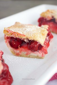 This Cherry Cream Cheese Dessert is an easy, dreamy dessert you are going to love! Rich, smooth cream cheese and luxurious pie filling are sandwiched between a delicate crescent roll crust then baked till golden perfection. #centslessmeals #cherrycreamcheesedessert #cherrycreamcheesebars #cherrycreamcheesepie #cherrycreamcheesebake #dessert #easydessert #dessertbars Cherry Cream Cheese Bake Recipe, Cream Cheese Bars, Cream Cheese Desserts, Cream Cheese Recipes, Cherry Cheesecake Pie, Cheesecake Desserts, Dessert Recipes, Breakfast Recipes, Crescent Roll Recipes