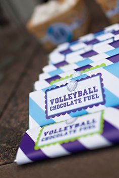 Volleyball birthday chocolate bars