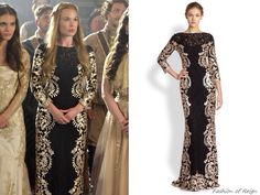 "Episode 2x03 ""Coronation"" Greer wears this sold out Tadashi Shoji Three Quarter Sleeved Contrast Lace Gown"